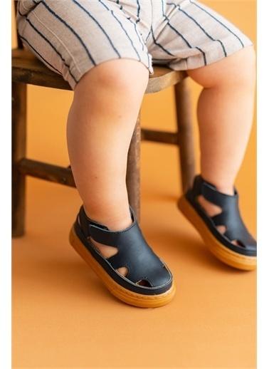 First Step Hakiki Deri Çocuk Sandalet -D-466 Lacivert